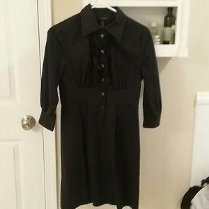 Banana Republic black ruffle shirt dress